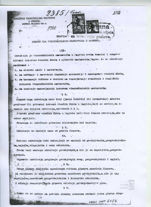 Prva pravila Društva iz 1919.